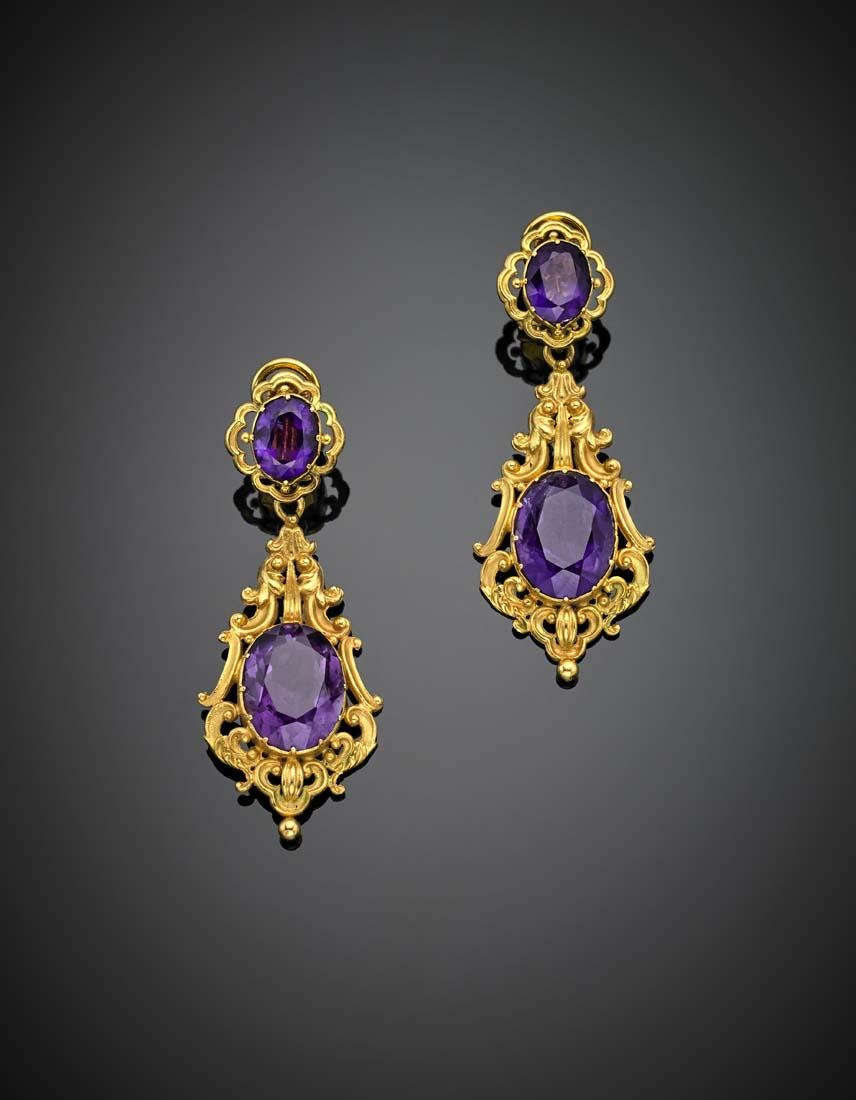 Oval amethyst yellow 9K and 18K gold pendant earclips,