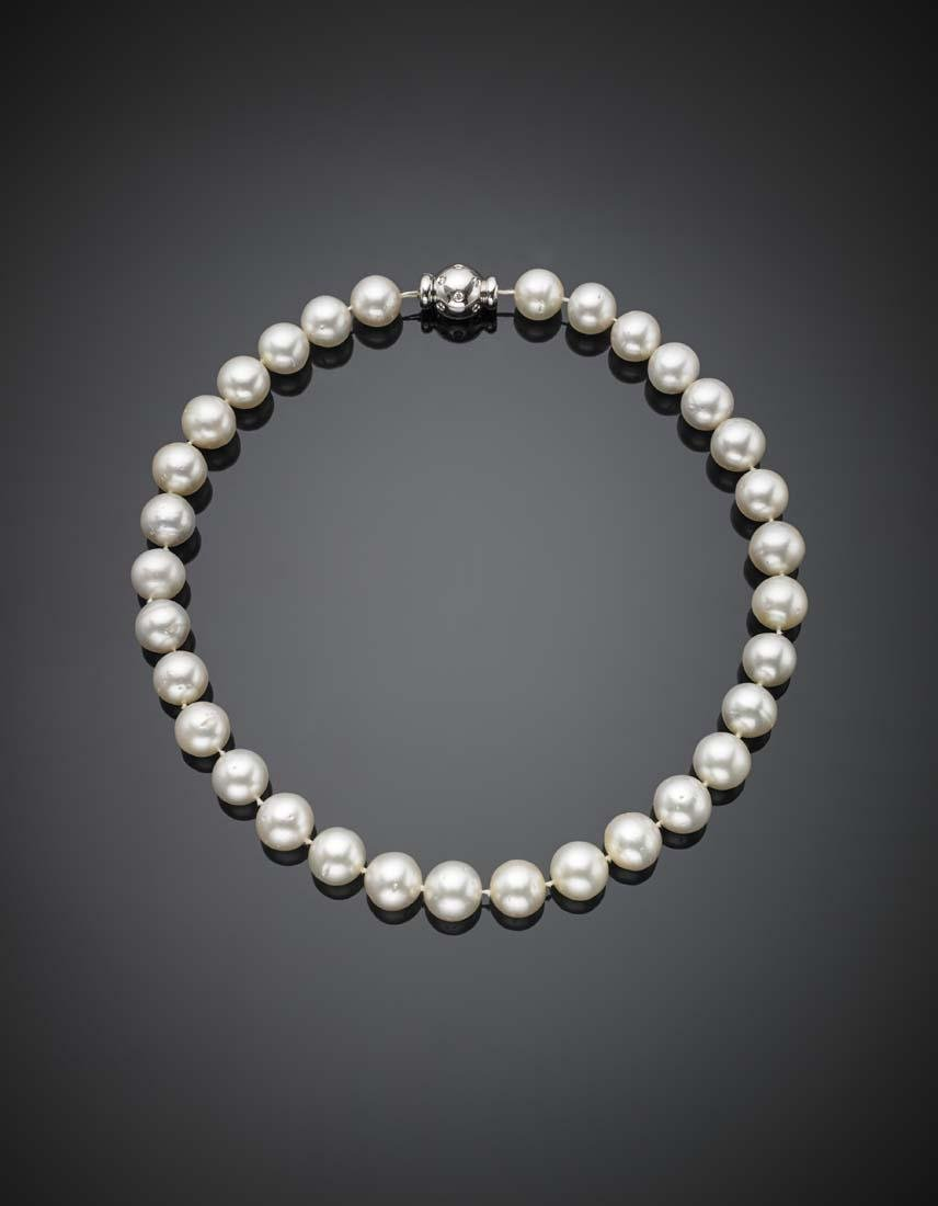 South Sea pearl necklace with white gold diamond clasp,