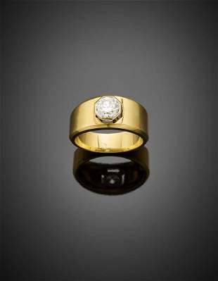 Round brilliant cut ct. 1 circa diamond yellow gold