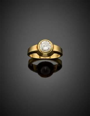 Round brilliant cut ct. 1.00 circa diamond yellow gold