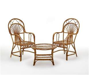 Pair of armchairs with coffee table in rattan and
