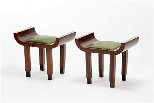 Pair of Novecento stools in veneered wood and