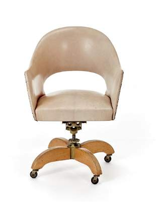 Office swivel armchair with metal and oak wood