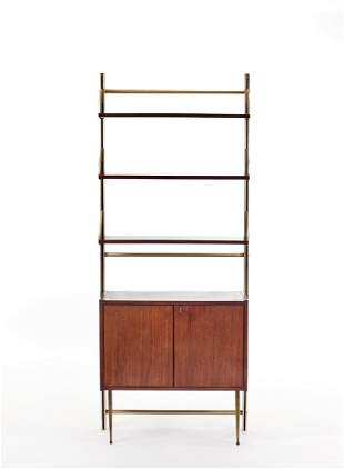 Feal Bookcase with three open shelves and double door