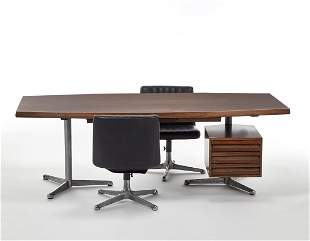 Tecno Large desk with structure in aluminum, steel and