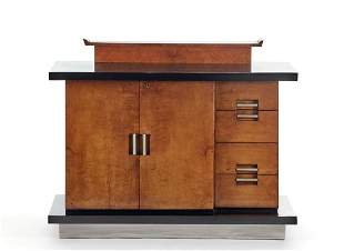 Novecento sideboard veneered in briar with base and