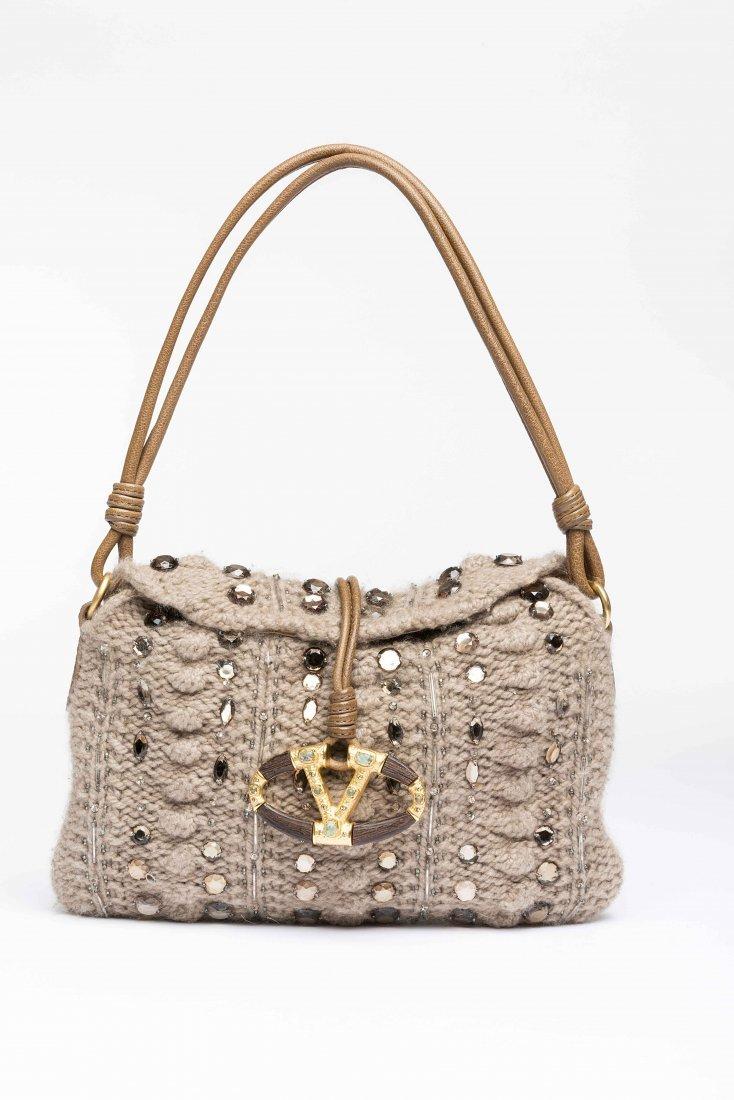 Valentino Garavani: woollen handbag with leather handle
