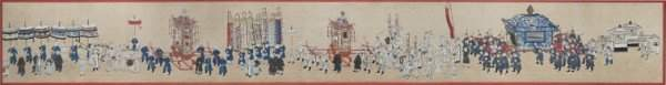 A painting of figures in procession some wearing white