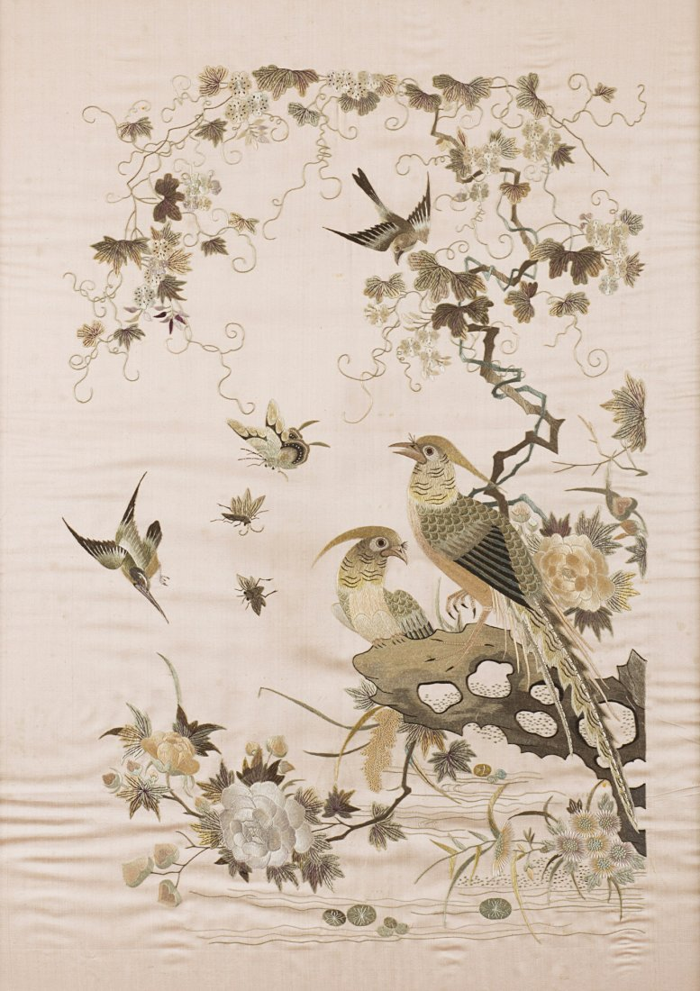 A silk embroidery of beige and ivory thread