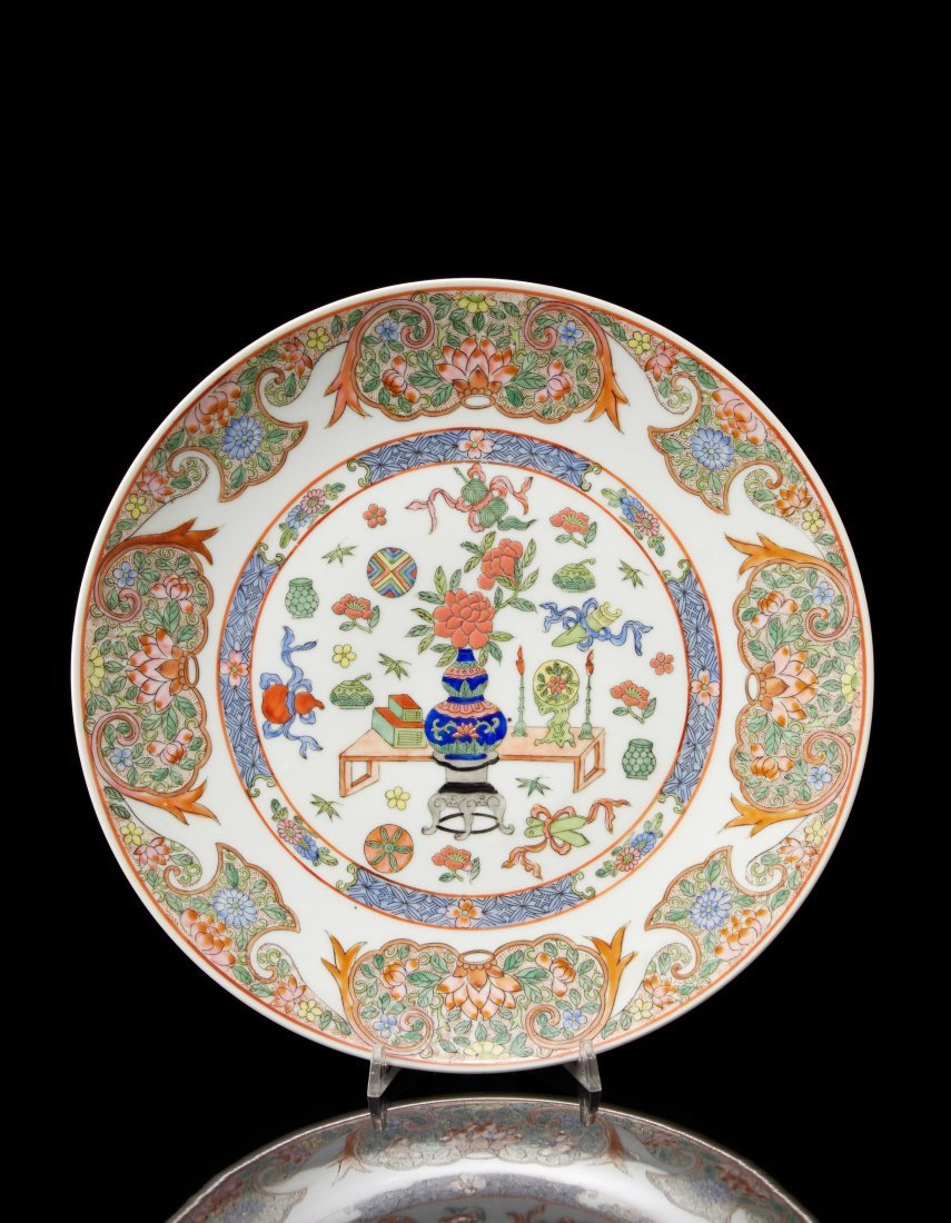 A Famille Rose porcelain dish decorated with flowers