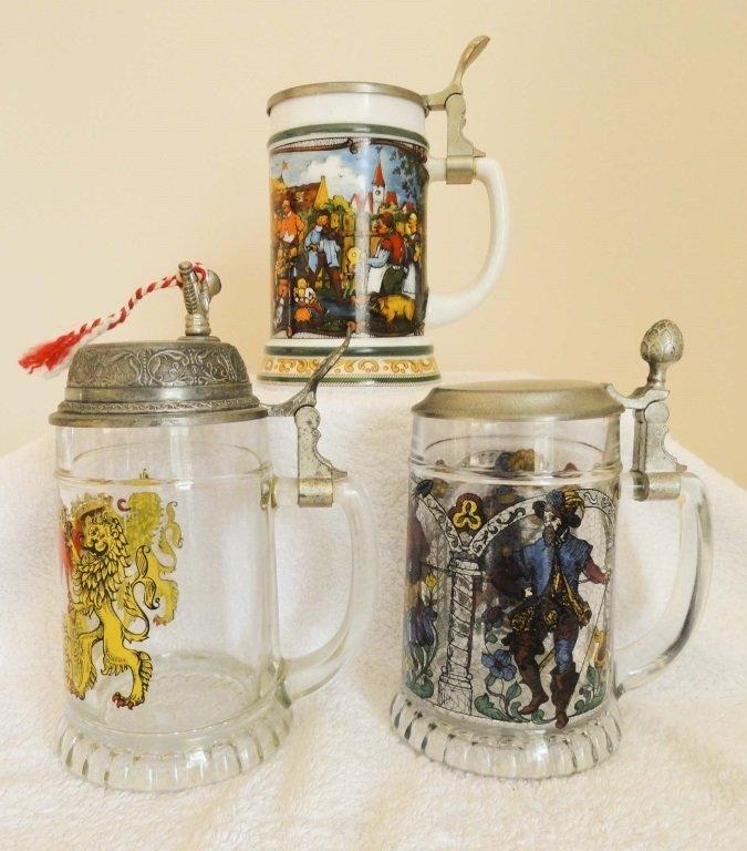 3x GERMAN GLASS STEINS