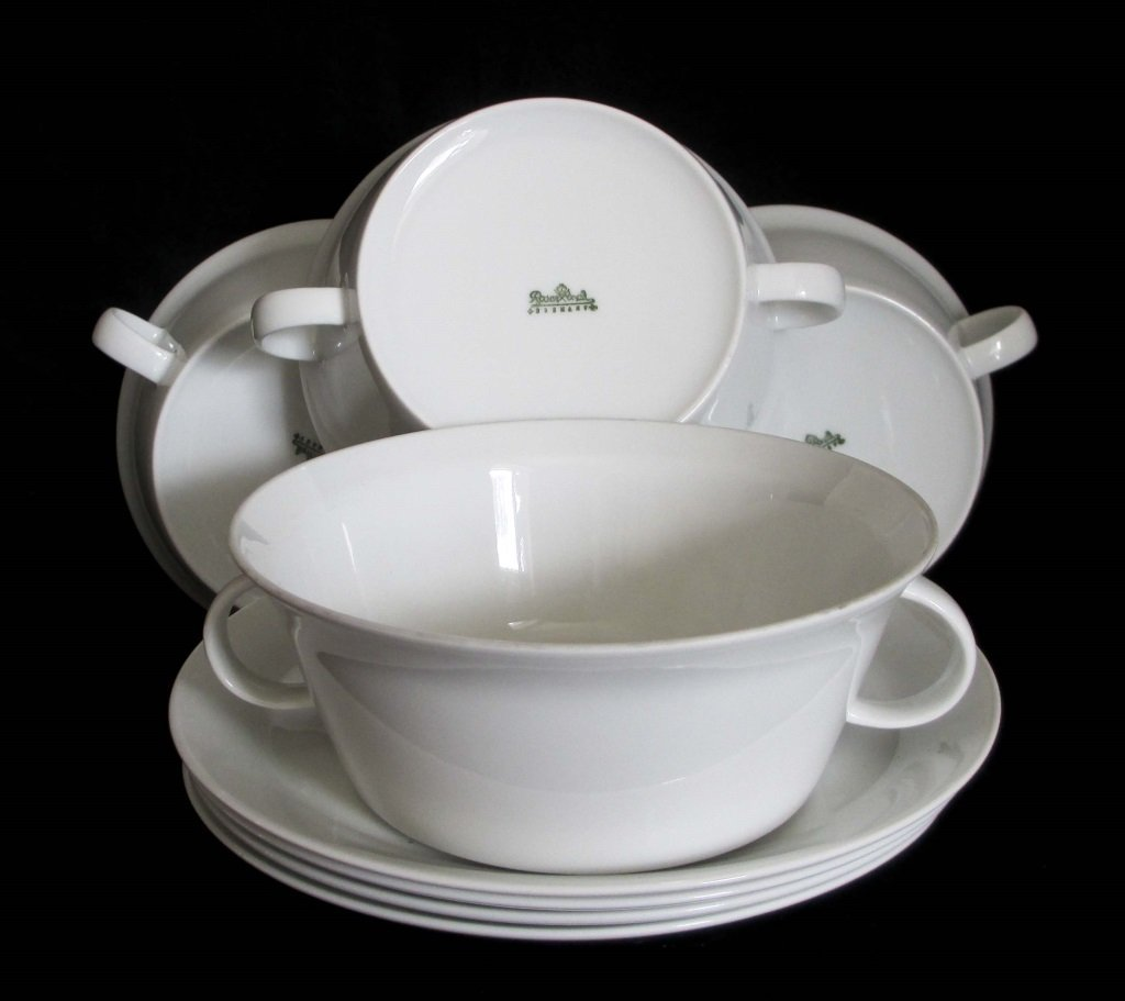 ROSENTHAL WHITE PORCELAIN BOWLS AND SAUCERS