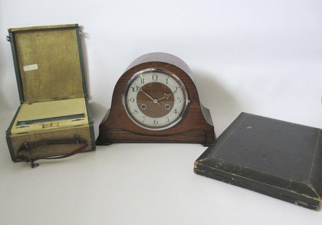 ANVIL MANTLE CLOCK, EKCO RADIO & A KNIFE BOX