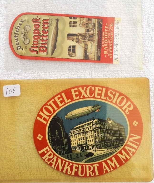 1930's HOTEL EXCELSIOR AIRSHIP LUGGAGE LABEL