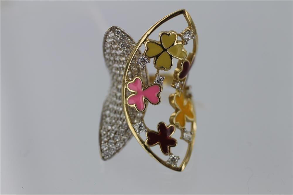 LADIES ENAMEL BUTTERFLY  Y.G. 1.00CT DIAMOND RING