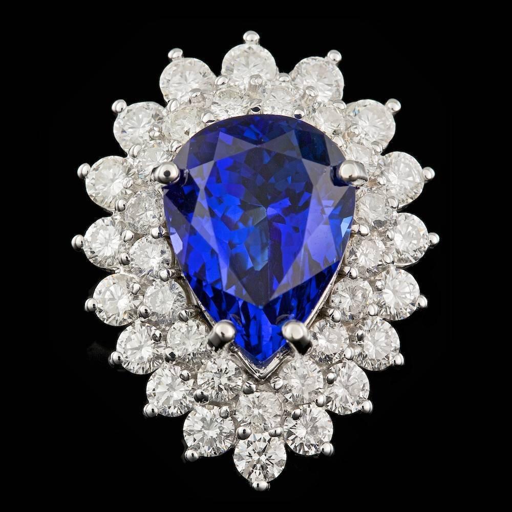 18K WHITE GOLD 6.50CT TANZANITE 2.40CT DIAMOND RING
