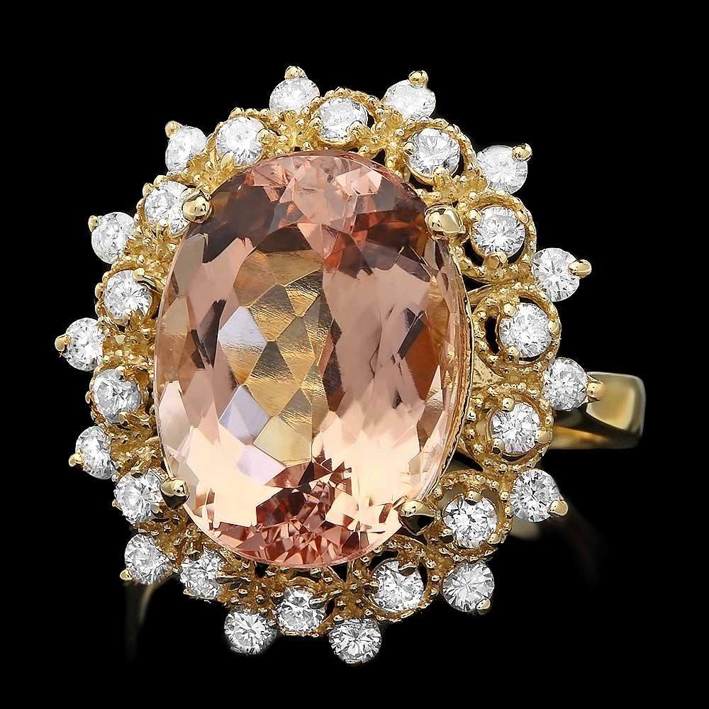 14K YELLOW GOLD 7.80CT MORGANITE 0.80CT DIAMOND RING