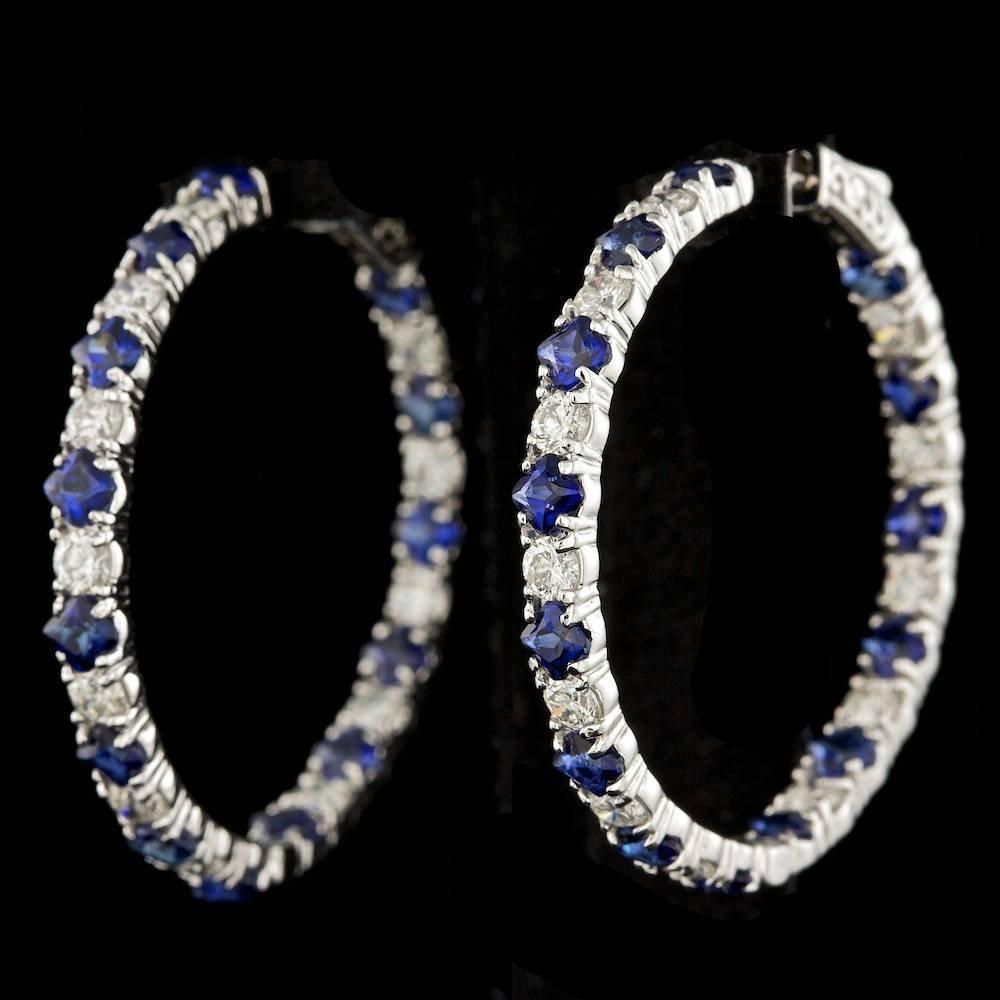 14K WHITE GOLD 6.00CT SAPPHIRE 3.20CT DIAMOND EARRINGS