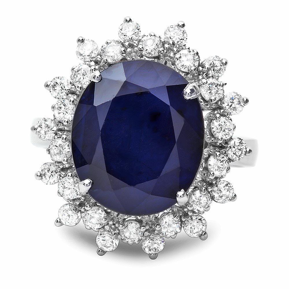 14K WHITE GOLD 6.50CT SAPPHIRE 0.85CT DIAMOND RING