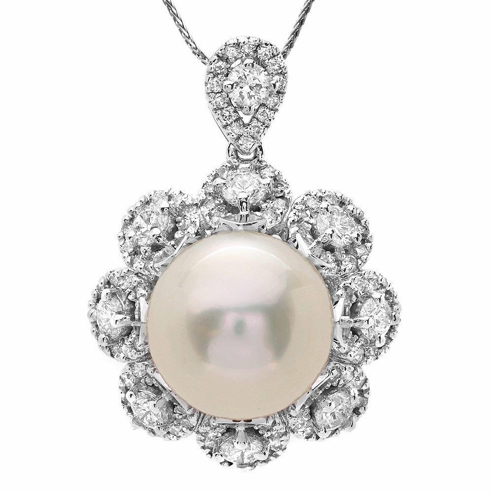 14K WHITE GOLD 14 X 14MM PEARL 3CT DIAMOND PENDANT