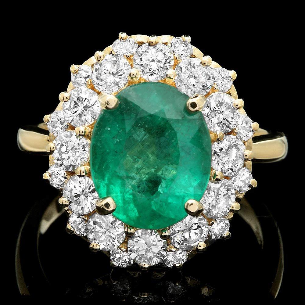 14K YELLOW GOLD 3.50CT EMERALD 1.60CT DIAMOND RING