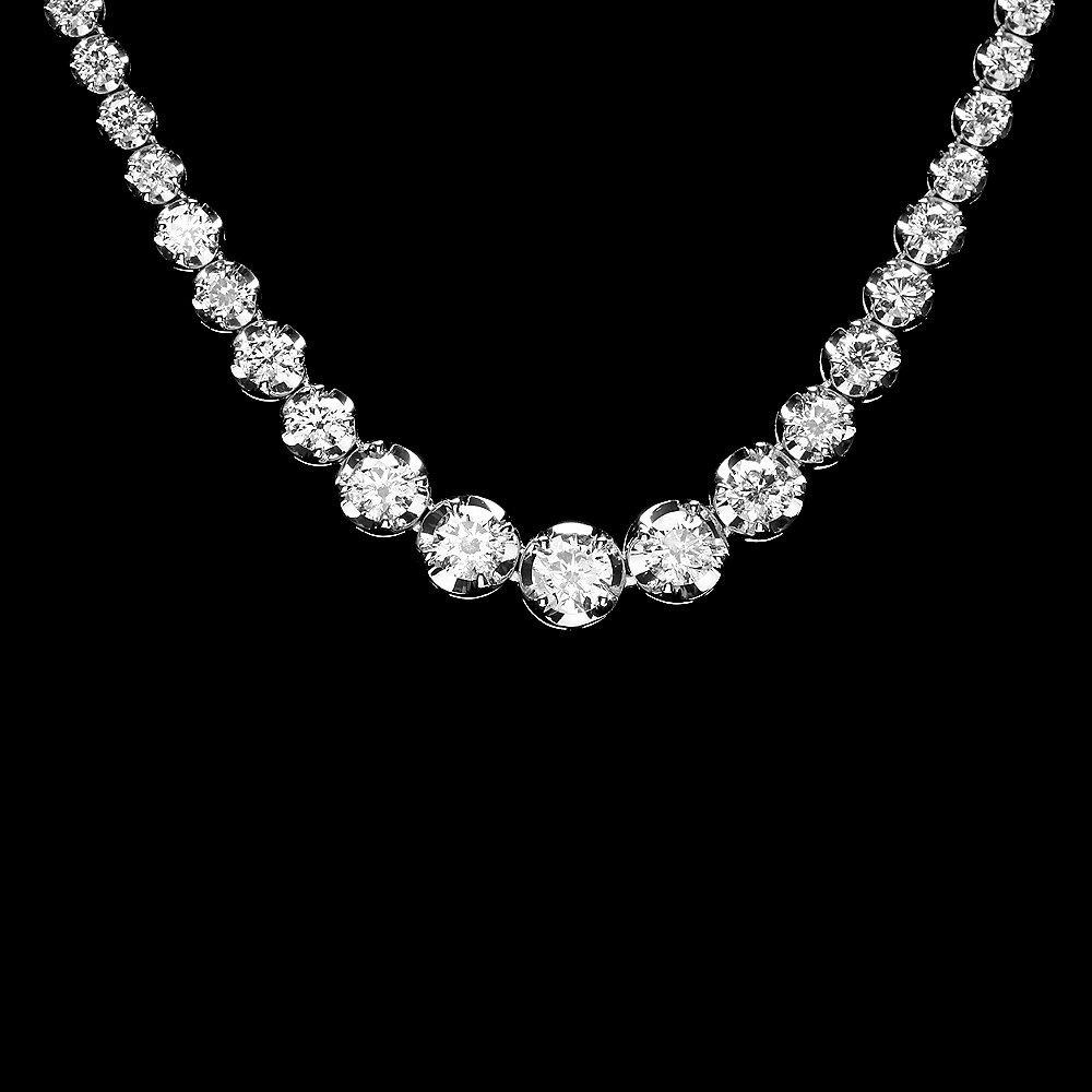 18K WHITE GOLD 10.20CT DIAMOND NECKLACE