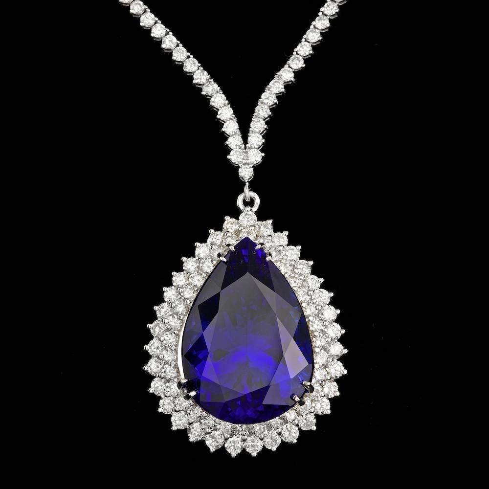 18K WHITE GOLD 38.00CT TANZANITE 12.35CT DIAMOND