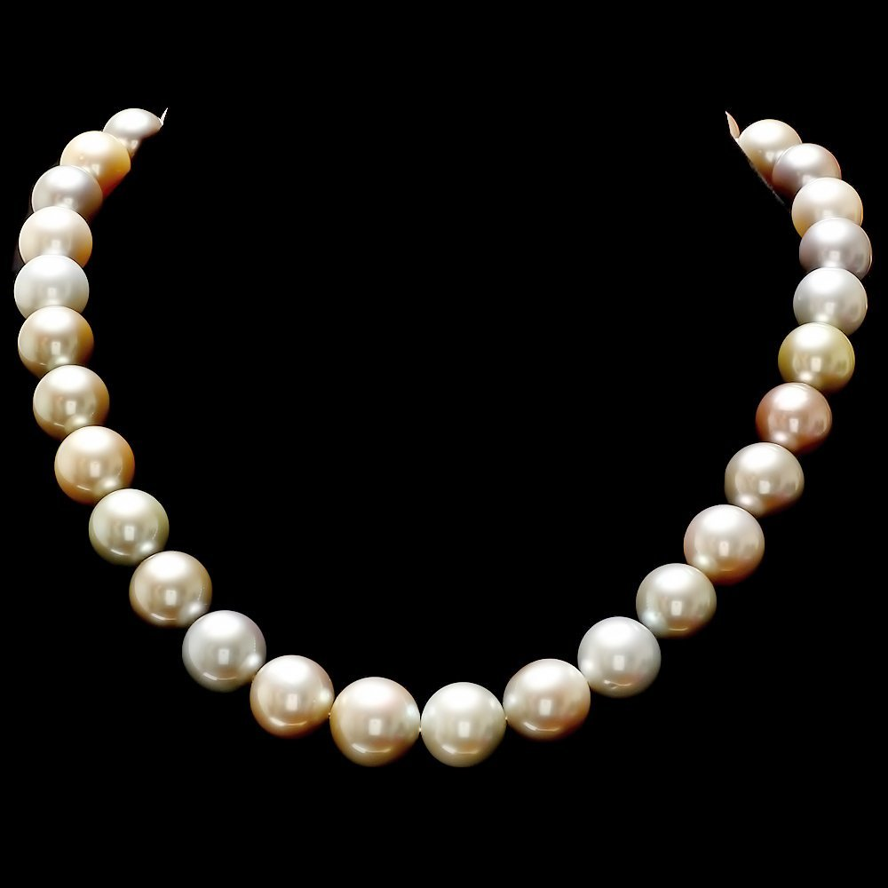 11 - 14MM NATURAL SOUTH SEA MULTI-COLOR PEARL NECKLACE
