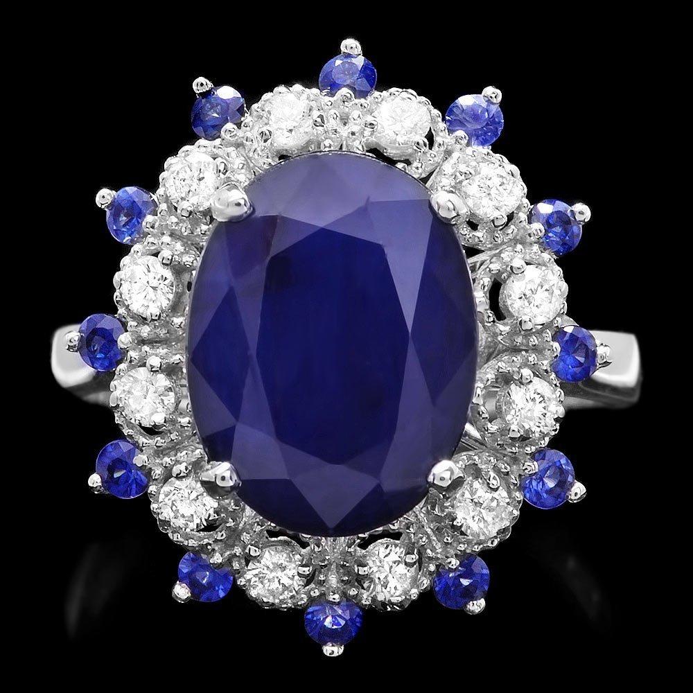 14K WHITE GOLD 5.35CT SAPPHIRE 0.35CT DIAMOND RING