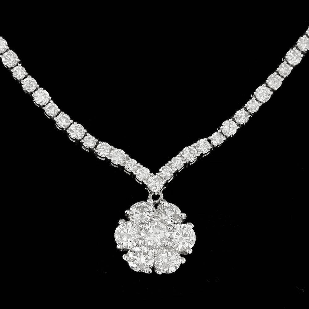 18K WHITE GOLD 11.2CT DIAMOND NECKLACE