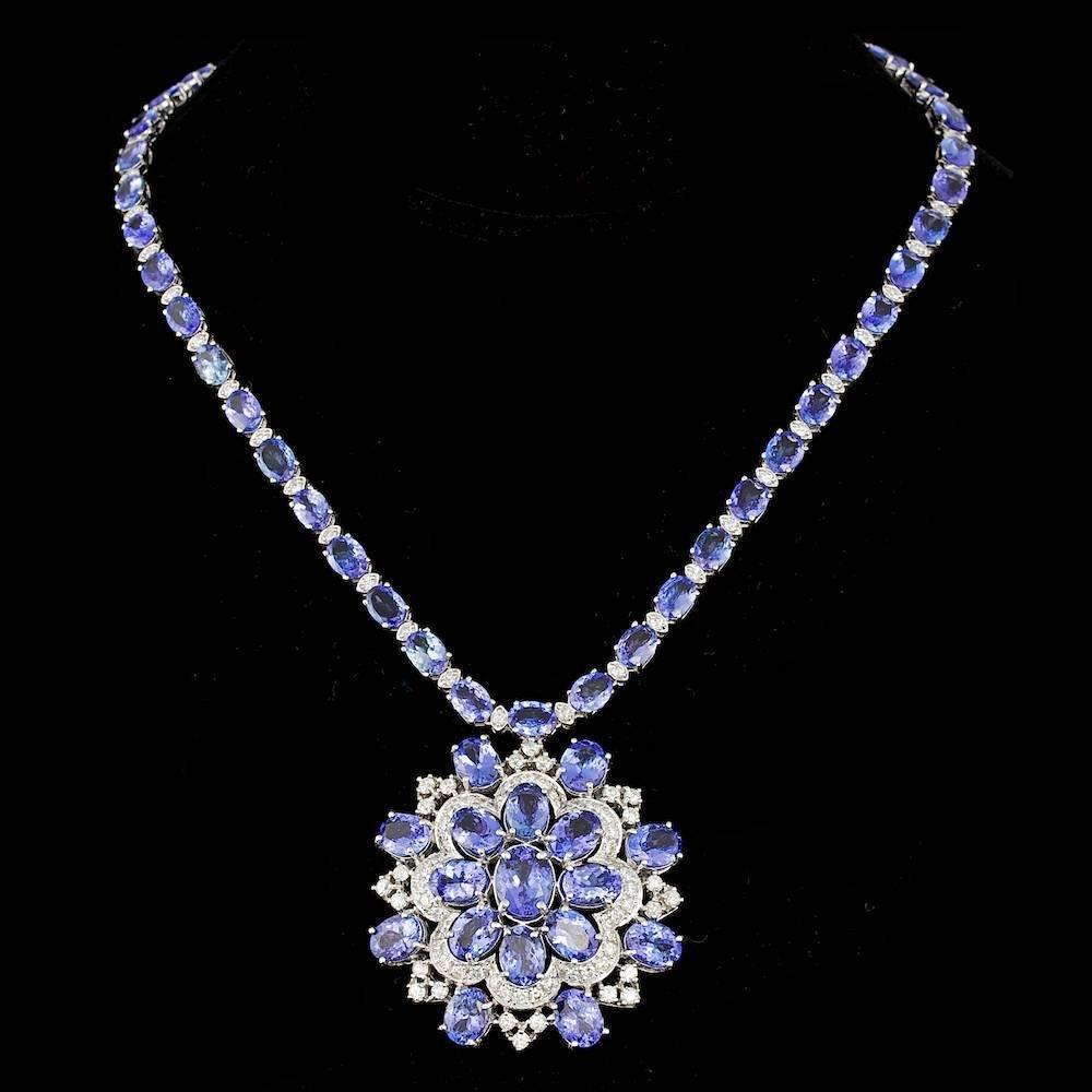14K WHITE GOLD 53.00CT TANZANITE 5.20CT DIAMOND