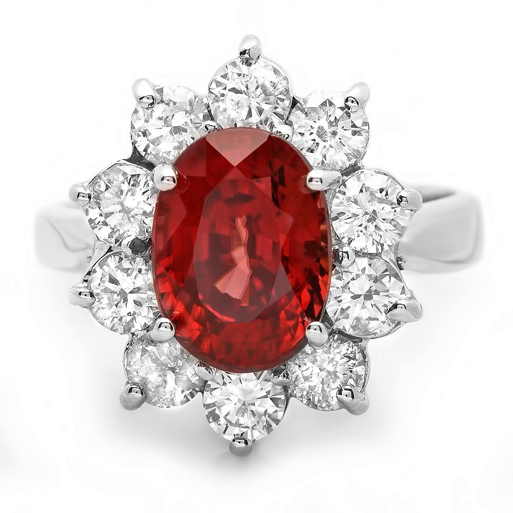 14K WHITE GOLD 5.50CT ZIRCON 1.80CT DIAMOND RING