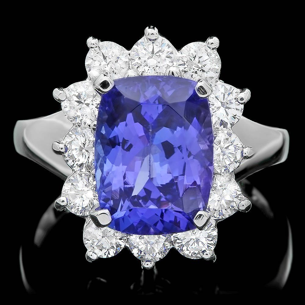 14K WHITE GOLD 4.00CT TANZANITE 1.20CT DIAMOND RING