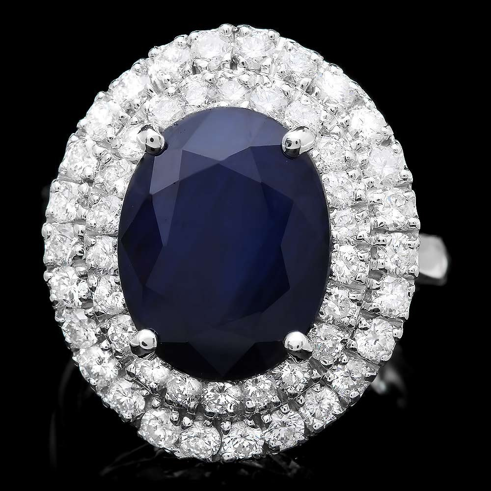 14K WHITE GOLD 8.00CT SAPPHIRE 1.65CT DIAMOND RING