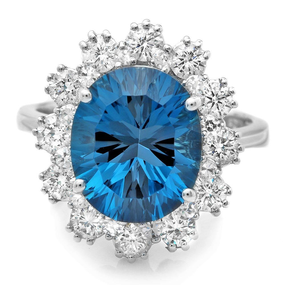 14K WHITE GOLD 5.70CT TOPAZ 0.80CT DIAMOND RING
