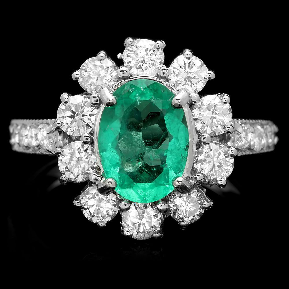 14K WHITE GOLD 1.50CT EMERALD 1.45CT DIAMOND RING