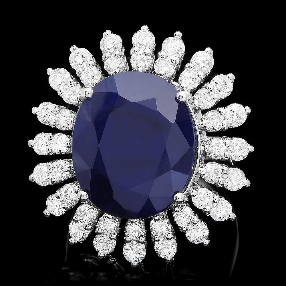 14K WHITE GOLD 15.00CT SAPPHIRE 2.45CT DIAMOND RING