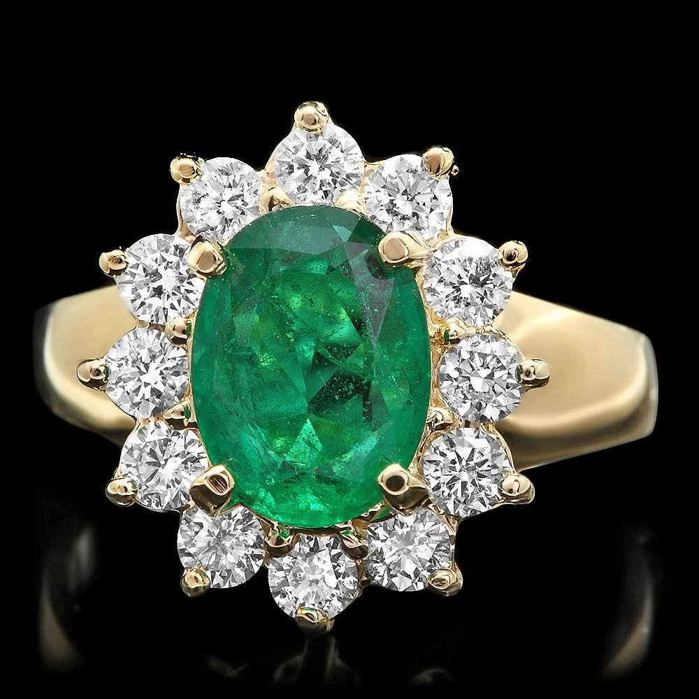 14K YELLOW GOLD 1.65CT EMERALD 0.90CT DIAMOND RING