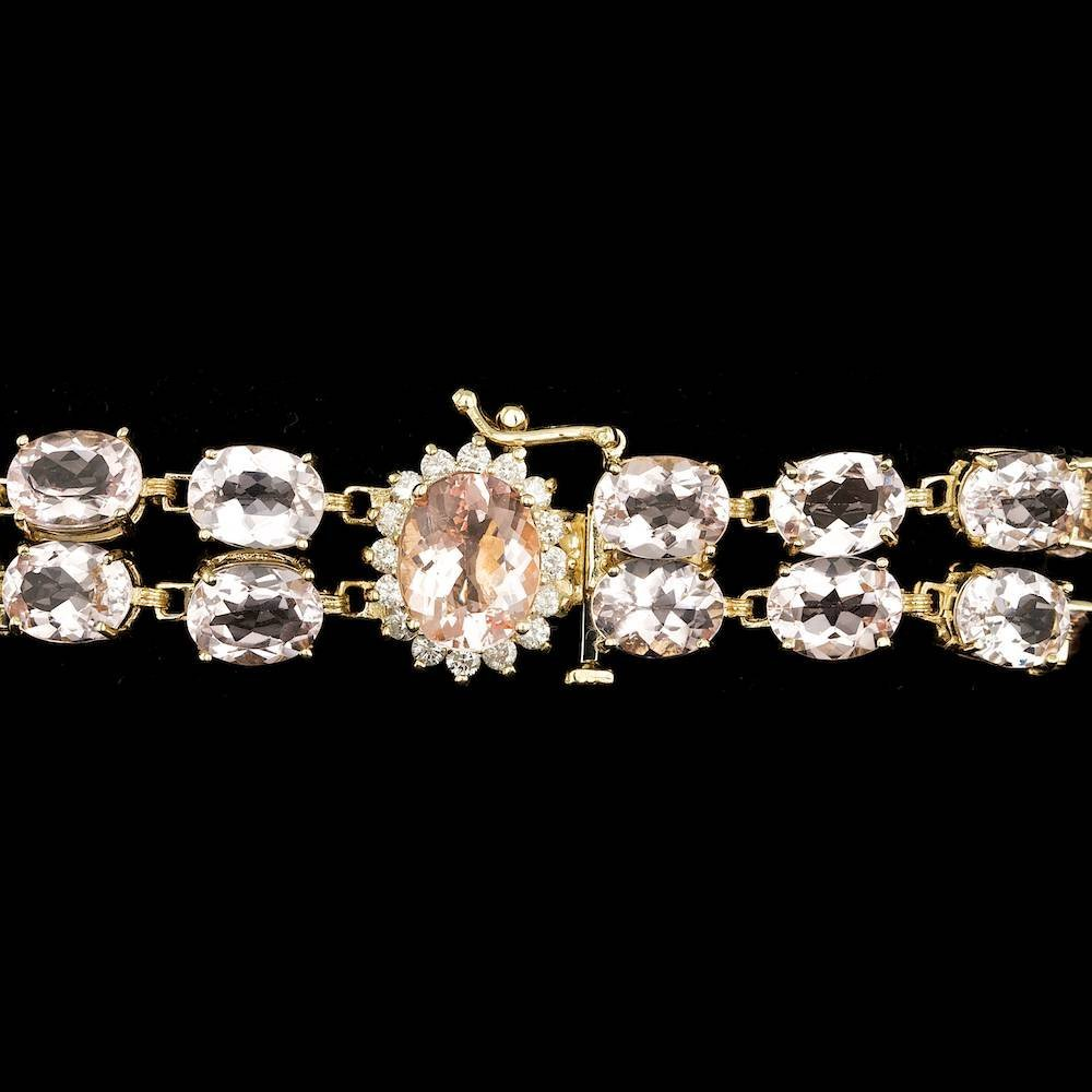 14K YELLOW GOLD 41.5CT MORGANITE 0.60CT DIAMOND