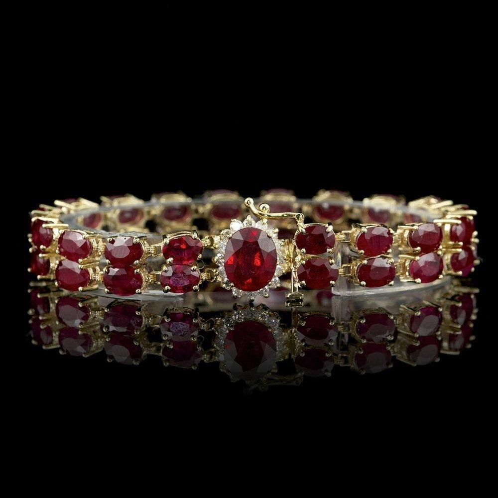 14K YELLOW GOLD 50CT RUBY 0.75CT DIAMOND BRACELET