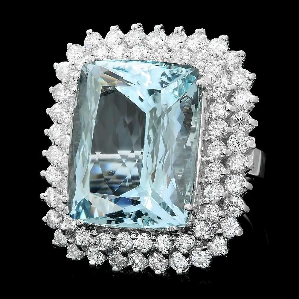 14K WHITE GOLD 21.00CT AQUAMARINE 3.00CT DIAMOND RING