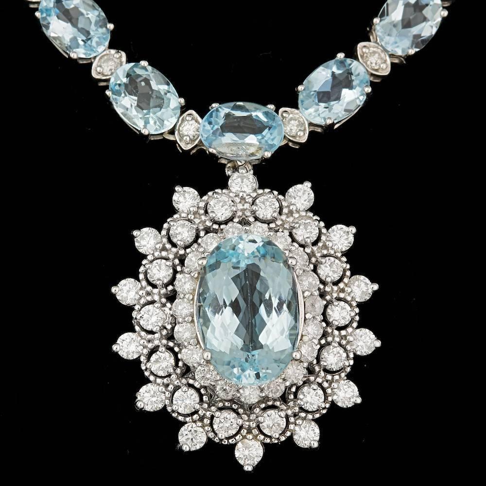 14K WHITE GOLD 33.5CT AQUAMARINE 3.10CT DIAMOND