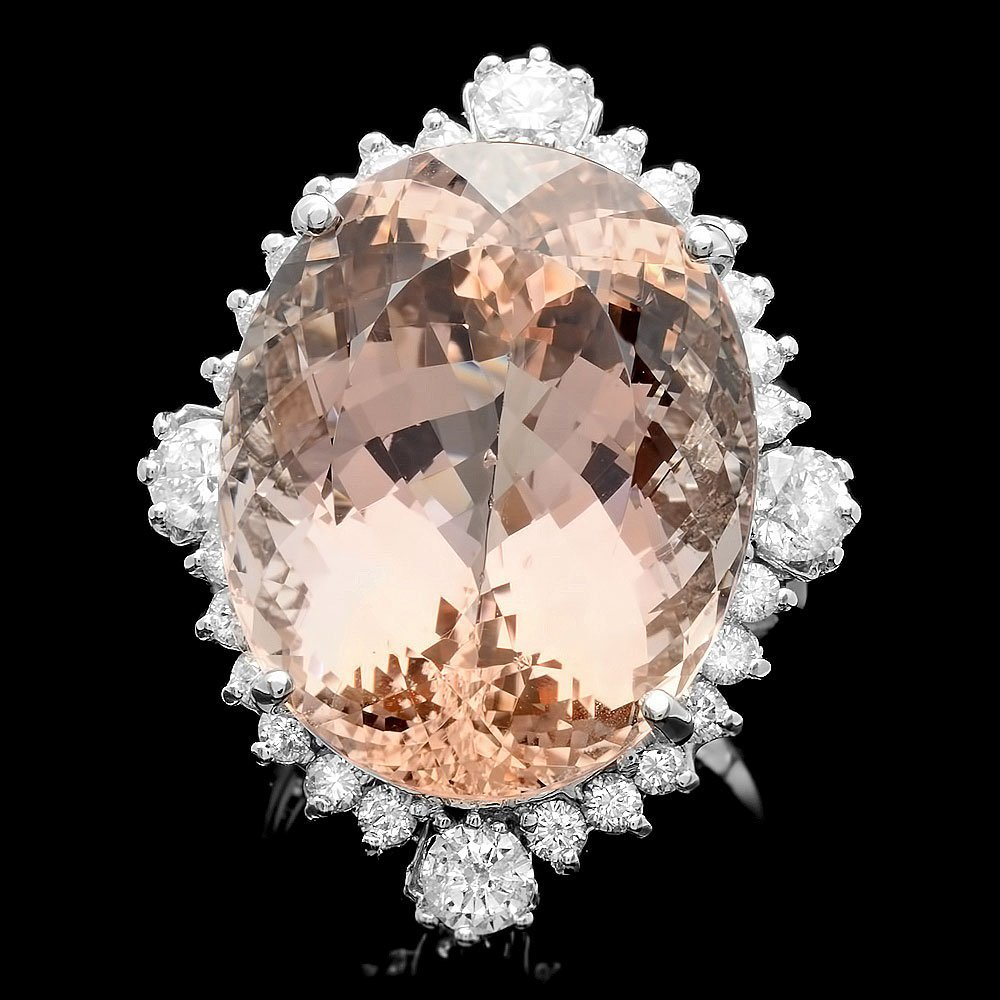 14K WHITE GOLD 35.00CT MORGANITE 1.85CT DIAMOND RING
