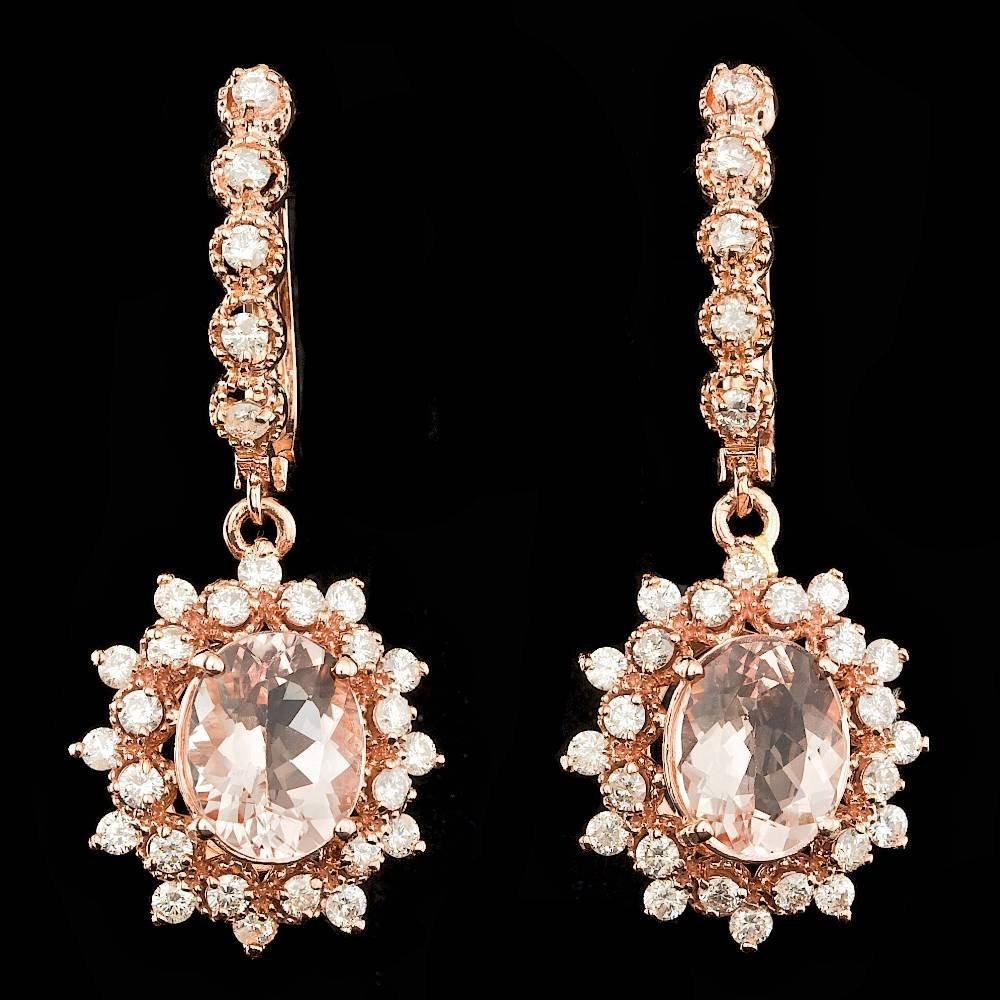14K ROSE GOLD 4.00CT MORGANITE 1.60CT DIAMOND EARRINGS