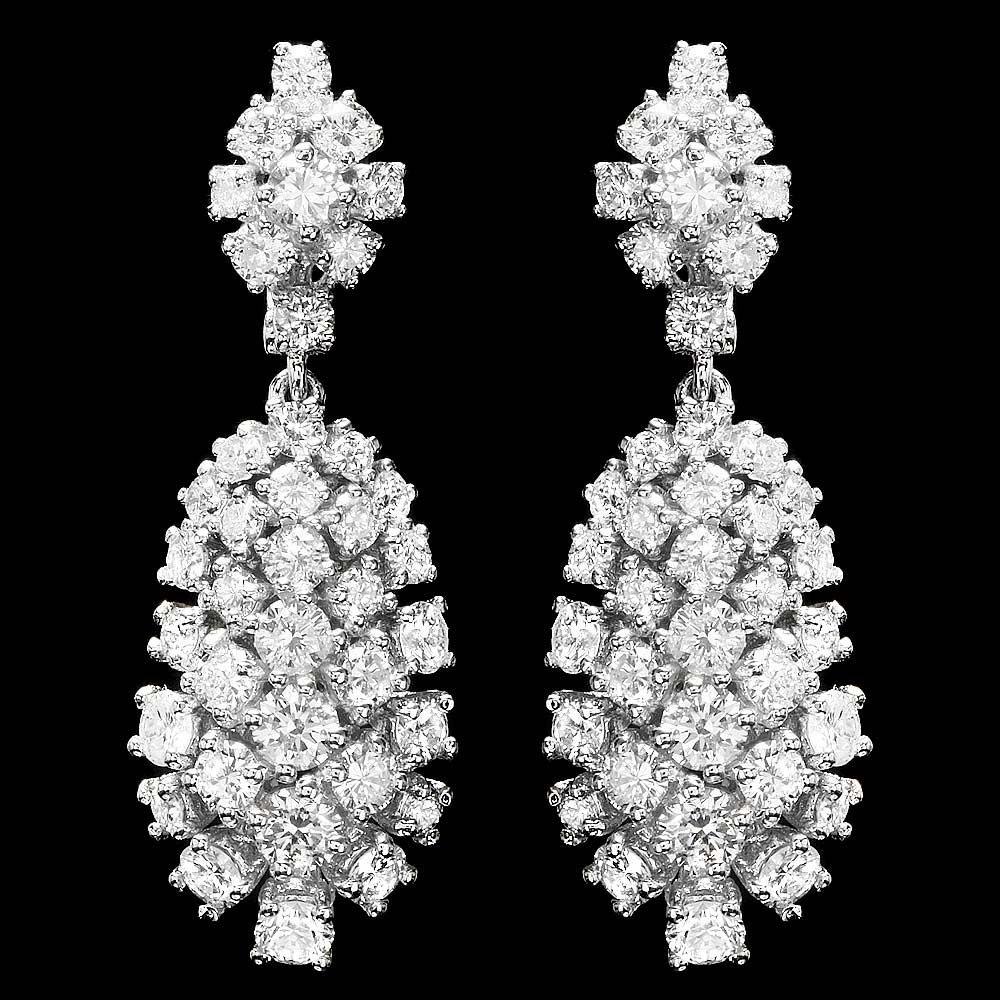 JAQU DE LILI 14K WHITE GOLD 5.32CT DIAMOND EARRINGS