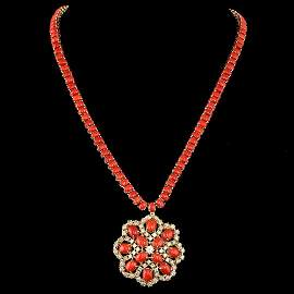 14K YELLOW GOLD 58.50CT CORAL 5.50CT DIAMOND NECKLACE