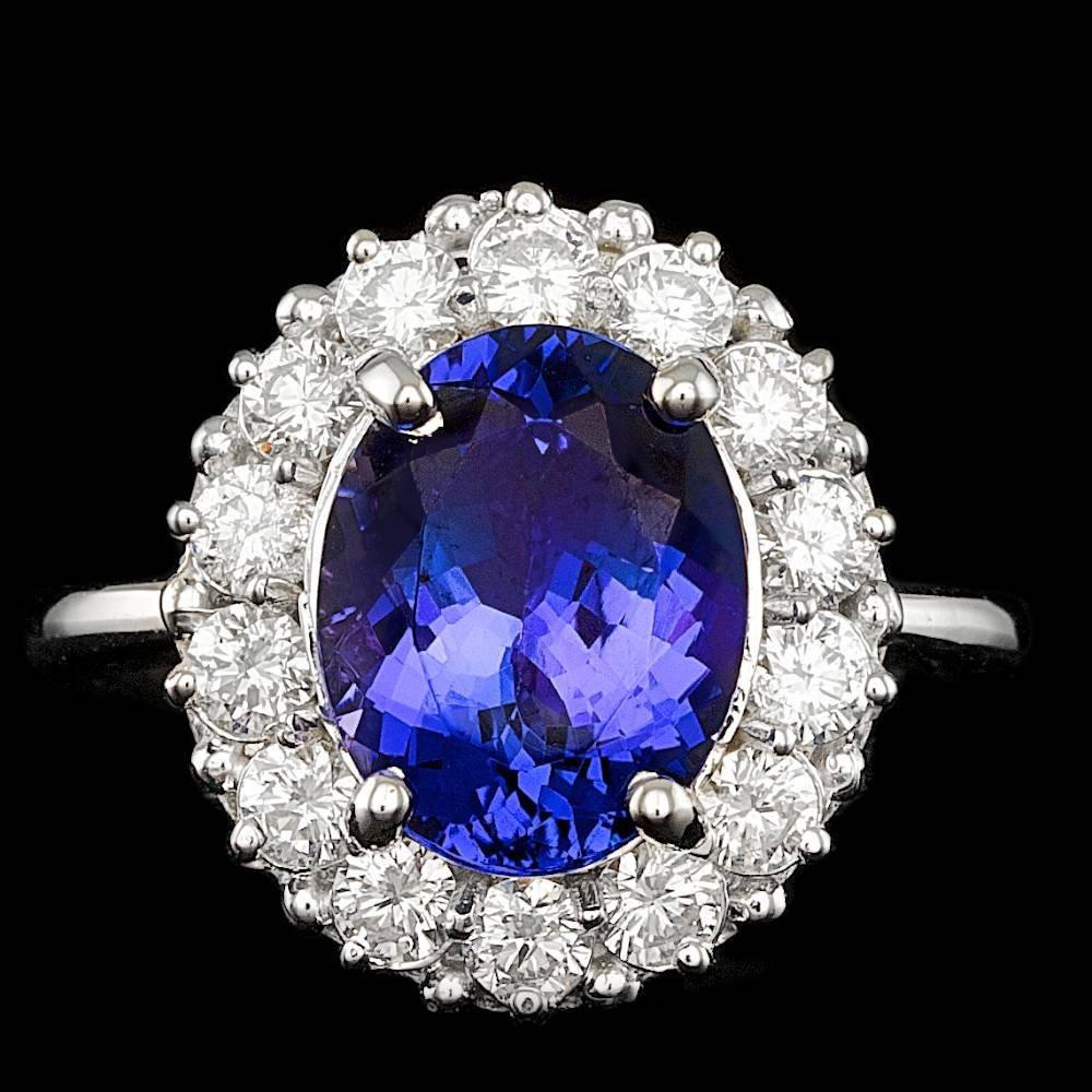 14K WHITE GOLD 4.00 CT TANZANITE 1.00CT DIAMOND RING