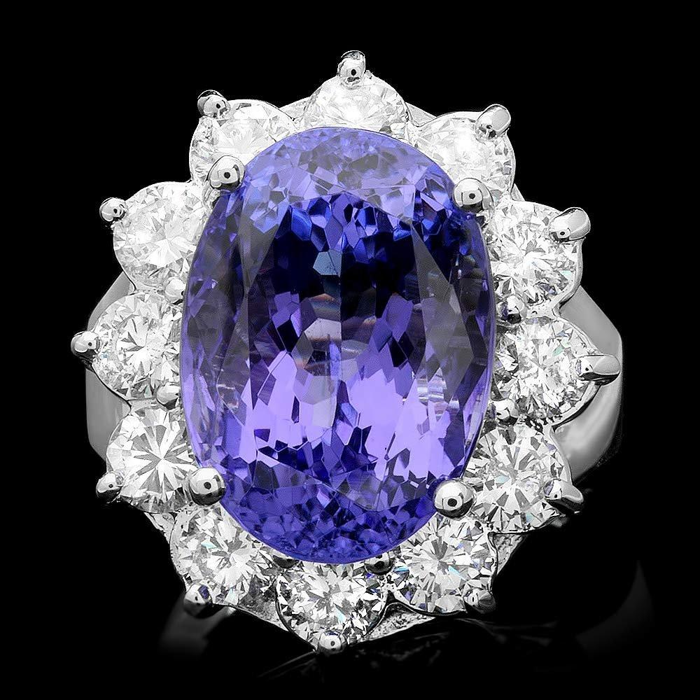 14K WHITE GOLD 11.50CT TANZANITE 2.10CT DIAMOND RING