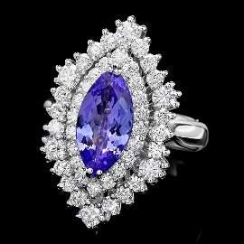 14K WHITE GOLD 2.00CT TANZANITE 1.50CT DIAMOND RING
