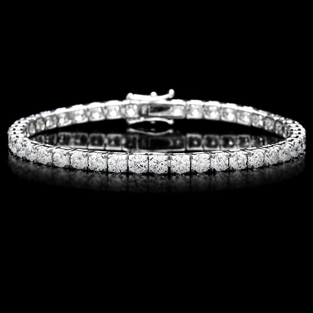 18K WHITE GOLD 9.50CT DIAMOND TENNIS BRACELET